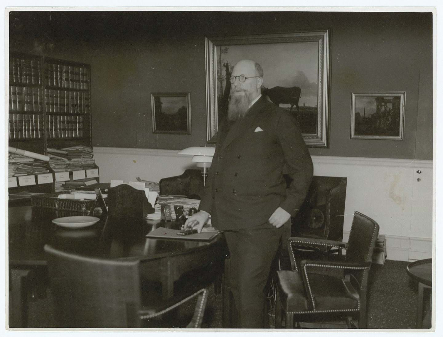 Thorvald Stauning in his office decorated with furniture designed by Kaare Klint. Photo credits: Royal Danish Library